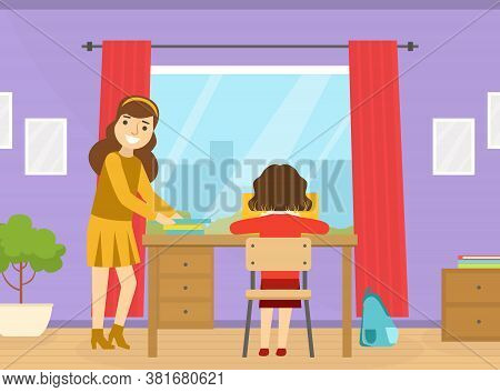 Mom Helping Her Child With Homework At Home Cartoon Vector Illustration