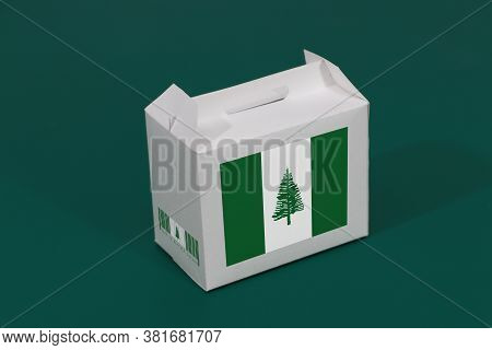 Norfolk Flag On White Box With Barcode And The Color Of Nation Flag On Green Background. The Concept
