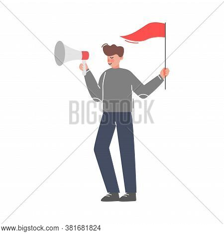 Businessman With Flag Shouting Through Loudspeaker, Social Media Marketing Concept, Business Promoti