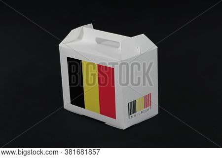Belgium Flag On White Box With Barcode And The Color Of Nation Flag On Black Background. The Concept