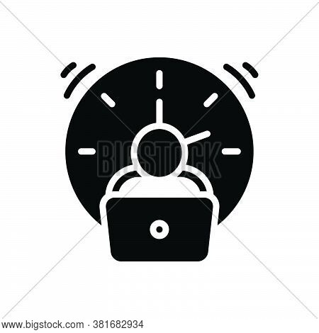 Black Solid Icon For Overtime Extra Fatigue Tired Exhausted Working Atelier Pile Employee Clock Entr