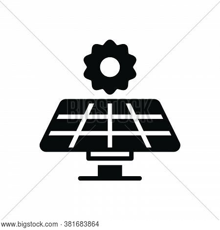Black Solid Icon For Solar-panel Solar Panel Electricity Sunlight Generate Energy Source Generates