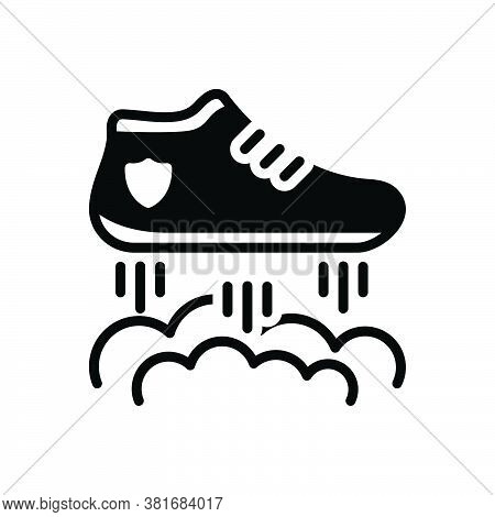 Black Solid Icon For Flying-shoes Flying Racing Lettering Shoe Boot Footwear Footgear Sneakers Fashi