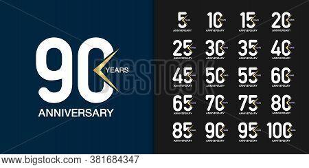 Set Of Trendy Anniversary Logotype. Modern Geometric Anniversary Celebration Icons Design For Compan