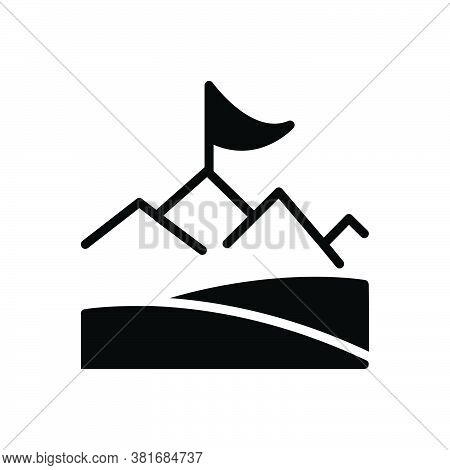 Black Solid Icon For Objective Achievement Accomplishment Cognition Success Prosperity  Flag Challen