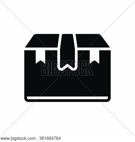 Black Solid Icon For Pack Bundle Equipment Luggage Burden Box Packing Parcel Shipping Container