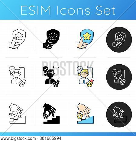 Professional Skills Development Icons Set. Linear, Black And Rgb Color Styles. Reliability, Creative