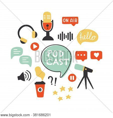 Podcast Icons Set. Podcasting Symbols Collection: Microphone, Headphones, Loudspeaker, Speech Bubble