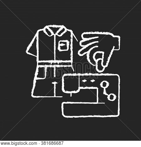 Diy Fashion Chalk White Icon On Black Background. Handmade Outfit. Create Clothes With Sewing Machin