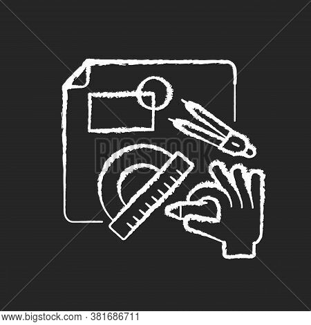 Diy Designing Chalk White Icon On Black Background. Engineering Blueprint. Technical Scheme With Mea