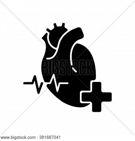 Cardiology Department Black Glyph Icon. Cardiologist. Cardiology Consultant. Heart Disease Treatment