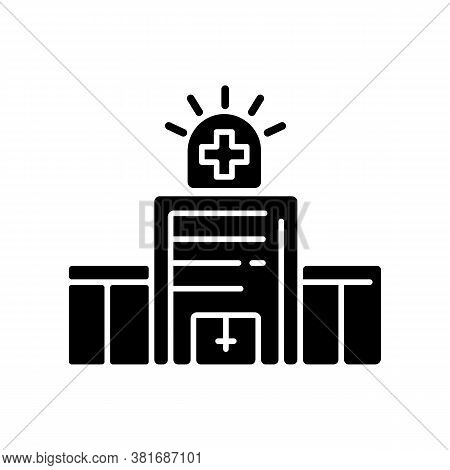 Walk In Clinic Black Glyph Icon. Medical Facility. Urgent Care Center. Healthcare Service Provider.