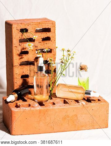 Red Bricks Podium For Advertising Cosmetics Products