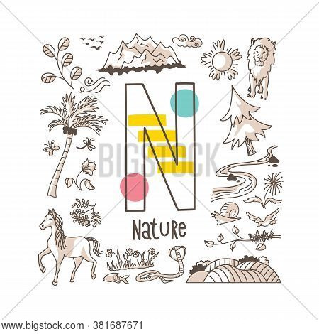 Letter N - Nature, Cute Alphabet Series In Doodle Style, Vector Illustration