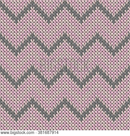 Macro Chevron Stripes Knitting Texture Geometric Vector Seamless. Ugly Sweater Hosiery Textile Print