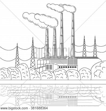 Vintage Industrial Landscape In Engraving Style, Great Design For Any Purposes. Vector Line Cityscap
