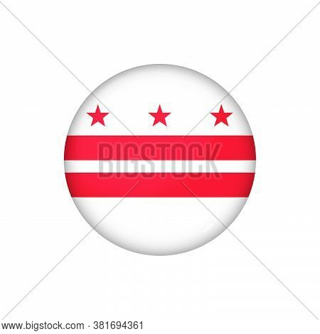 Icon Flag Of District Of Columbia . Round Glossy Flag. Vector Illustration. Eps 10