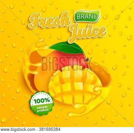 Fresh Mango Juice Label With Splash Around The Fruit Slice With Apteitic Drops From Condensation On