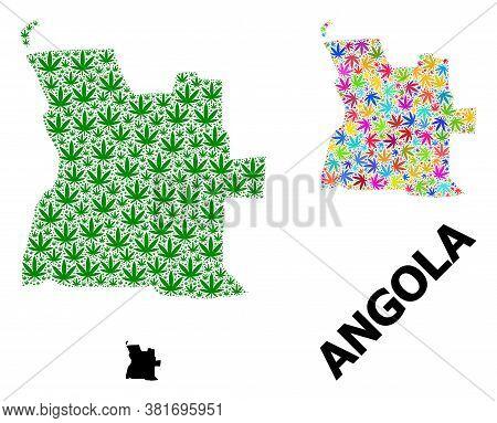 Vector Cannabis Mosaic And Solid Map Of Angola. Map Of Angola Vector Mosaic For Cannabis Legalize Ca