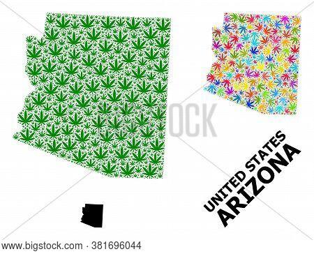 Vector Weed Mosaic And Solid Map Of Arizona State. Map Of Arizona State Vector Mosaic For Drug Legal