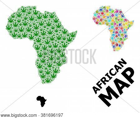 Vector Cannabis Mosaic And Solid Map Of Africa. Map Of Africa Vector Mosaic For Cannabis Legalize Ca