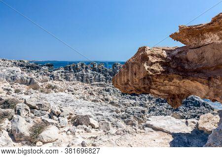 A Stone Formation Resembling A Dragon's Head. Ibiza Island. Balearic Islands, Spain