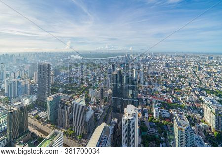Aerial View Of Bangkok Downtown Skyline. Thailand. Financial District And Business Centers In Smart
