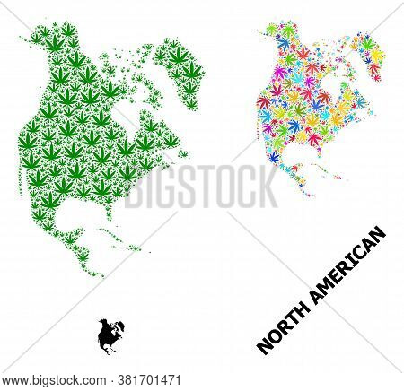 Vector Weed Mosaic And Solid Map Of North America. Map Of North America Vector Mosaic For Cannabis L