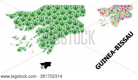 Vector Weed Mosaic And Solid Map Of Guinea-bissau. Map Of Guinea-bissau Vector Mosaic For Weed Legal