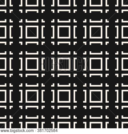 Vector Geometric Seamless Pattern With Squares, Square Grid, Lines, Tiles. Abstract Black And White