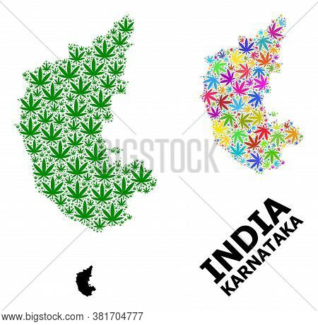 Vector Cannabis Mosaic And Solid Map Of Karnataka State. Map Of Karnataka State Vector Mosaic For Ca