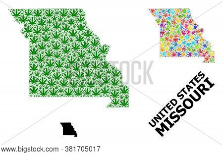 Vector Cannabis Mosaic And Solid Map Of Missouri State. Map Of Missouri State Vector Mosaic For Cann