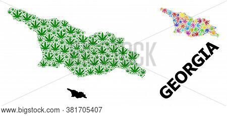 Vector Weed Mosaic And Solid Map Of Georgia. Map Of Georgia Vector Mosaic For Weed Legalize Campaign
