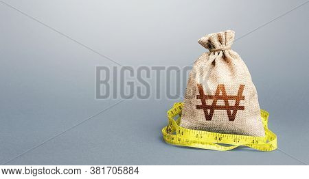 South Korean Won Money Bag And Measuring Tape Meter. Analysis Of Economic Situation. Formation And O