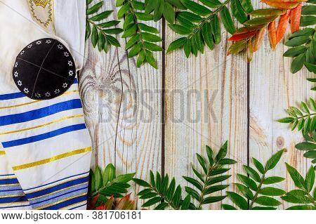 Orthodox Jewish Prays Shawl Tallit And Kippa Jewish Religious Symbol
