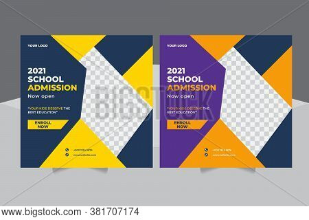 Admission Promotion Social Media Post Template Design, Education Advertisement, Students Admission S