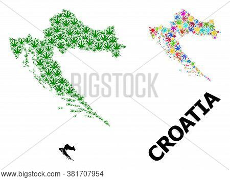 Vector Weed Mosaic And Solid Map Of Croatia. Map Of Croatia Vector Mosaic For Drug Legalize Campaign