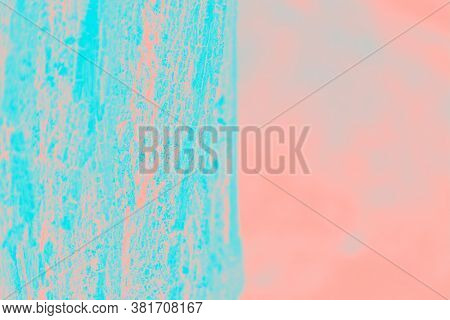 Neon Patchy Turquoise And Pink Background. Half Turquoise, Half Pink. Copy Space