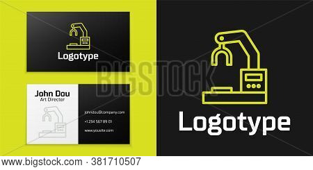 Logotype Line Industrial Machine Robotic Robot Arm Hand Factory Icon Isolated On Black Background. I