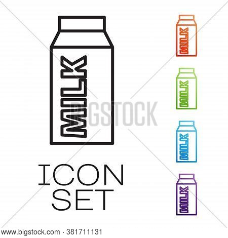 Black Line Paper Package For Milk Icon Isolated On White Background. Milk Packet Sign. Set Icons Col