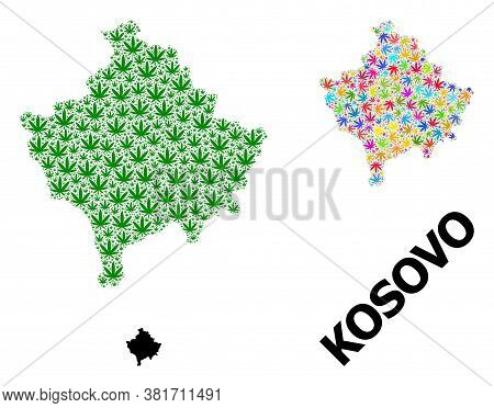 Vector Weed Mosaic And Solid Map Of Kosovo. Map Of Kosovo Vector Mosaic For Weed Legalize Campaign.