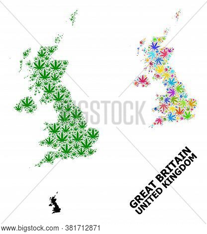 Vector Hemp Mosaic And Solid Map Of United Kingdom. Map Of United Kingdom Vector Mosaic For Marijuan