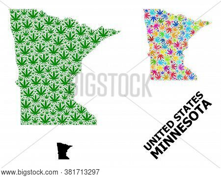 Vector Weed Mosaic And Solid Map Of Minnesota State. Map Of Minnesota State Vector Mosaic For Mariju