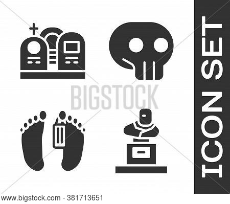 Set Grave With Tombstone, Grave With Tombstone, Dead Body And Skull Icon. Vector