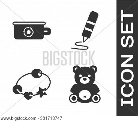 Set Teddy Bear Plush Toy, Baby Potty, Rattle Baby Toy And Wax Crayon For Drawing Icon. Vector