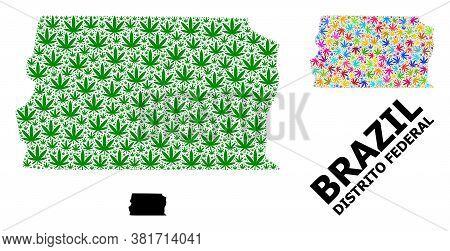 Vector Marijuana Mosaic And Solid Map Of Brazil - Distrito Federal. Map Of Brazil - Distrito Federal
