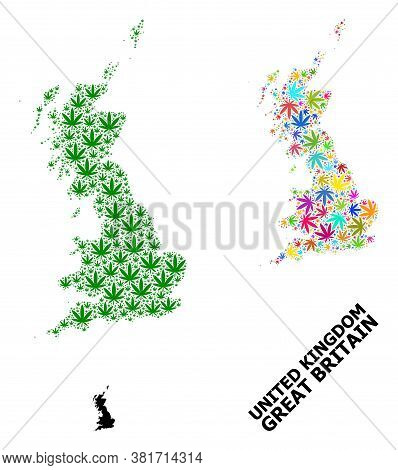 Vector Hemp Mosaic And Solid Map Of Great Britain. Map Of Great Britain Vector Mosaic For Hemp Legal