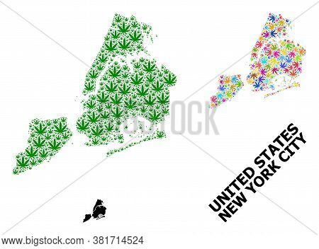 Vector Weed Mosaic And Solid Map Of New York City. Map Of New York City Vector Mosaic For Weed Legal