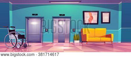 Hospital Corridor With Open Elevator Doors, Yellow Sofa And Wheelchair. Vector Cartoon Interior Of E