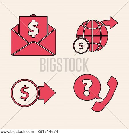 Set Telephone Handset And Speech Bubble Chat, Envelope With Coin Dollar, Earth Globe With Dollar And